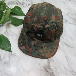 Obey Circle Patch, Camo 5 Panel Hat